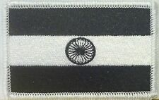 INDIA Flag Embroidered Iron-On Patch Morale Military BLACK & WHITE Version