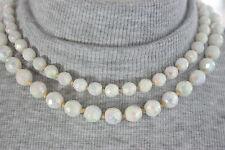 50s White Aurora Borealis Double Strand Necklace Milk Glass Bridal Vintage