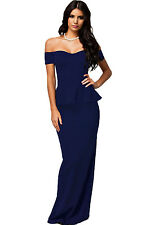 DROP SHOULDER NAVY ELEGANT PEPLUM MAXI FITTED EVENING PARTY DRESS 8-10-12-14-16