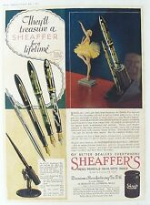 OLD VINTAGE ADVERT SHEAFFER PEN PENCIL INK c1930's BALLERINA PRINTED COLOUR