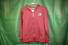 Women's Jr Converse All-Star Hooded Zip Up Sweater maroon Sz L (12-13) NWT