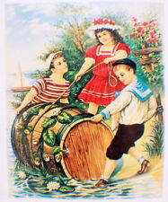 Victorian Lithograph Print Picture Children With A Barrel