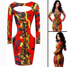New red snake printed bodycon mini dress club party summer wear size UK 12
