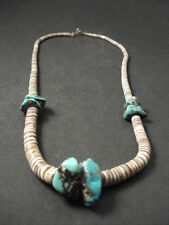 VINTAGE Navajo TURQUOISE AND HEISHI SHELL Necklace