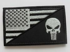 PUNISHER SKULL TACTICAL USA FLAG  MILITARY 3.0 INCH VELCRO PATCH 1PCS  SJK   301