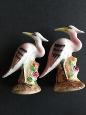 Vintage Salt Pepper Shakers Japan Bird Heron Pink Feathers Long Beak