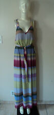 Presley Skye Pleated Belt striped Red/Purple Maxi Silk dress size XS NWT