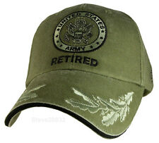 NEW U.S. Army Seal Retired with Eggs Baseball cap hat. Green. 6401.