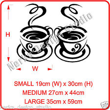 2 HUGE  TEA CUP STICKERS / KITCHEN WALL QUOTE / VINYL WALL STICKER / STENCIL N67