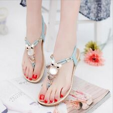 1PC Women Bohemia Buckle Flat Shoes Beach Sandals Owl Thong Slippers Flip Flops