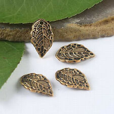 30pcs dark gold-tone leaf charms findings h1952