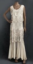 BRIDAL Stunning original 1930s floor length silk embellished nude dress RP £1400