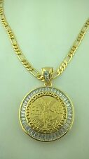 Centenario Coin Pendant. Small size With Luxury baggetes Bezel. Figaro Necklace