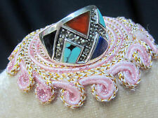 VINTAGE Mexican STERLING SILVER lapis TURQUOISE carnelian MARCASITE signed RING