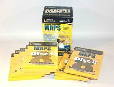 ✨ WORLD MAPS ON PC CD-ROMS ~ 8 DISKS NATIONAL GEOGRAPHIC COMPLETE COLLECTION ✨