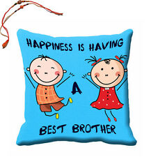 meSleep Blue Best Brother Rakhi Cushion (With Filling - 16x16 Inches) + Rakhi's