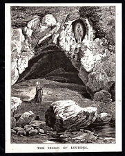 1874 small b&w magazine engraving - The Vision of Lourdes France