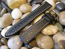 20 mm Hadley Roma MS894 Black Shrunken Grain Italian Leather Watch Band strap