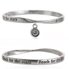 Reach For The Stars Quote Silver Crystal Bangle