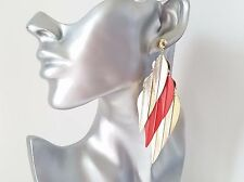Beautiful big RED & gold tone long leaf layered earrings,  * NEW *   #2