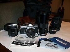 Vintage Olympus OM-2 35mm SLR Film Camera 3 AUTO Lenses 35, 50 & 75-150mm Outfit