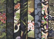 8 BLACK ASIAN ORIENTAL JAPANESE FAT QUARTER QUILT FABRIC: 2 Yds