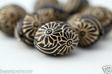 Black Gold Lucite Oval Etched Floral Beads Carved 19mm (10)