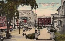 Antique POSTCARD c1910s Main Street north of Park Street WORCESTER, MA 12899