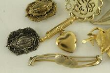 Vintage Costume Jewelry Lot 7 Gold Tone & Silver Tone Metal Brooch Pins