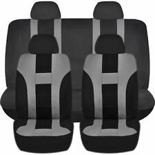 GRAY & BLACK DOUBLE STITCH SEAT COVERS 8PC SET for CHEVROLET CAMARO