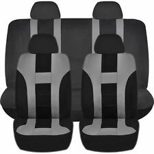 GRAY & BLACK DOUBLE STITCH SEAT COVERS 8PC SET for JEEP PATRIOT