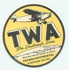 TWA TRANSCONTINENTAL & WESTERN AIR LINDBERGH LINE OLD 1932 AIRLINE LUGGAGE LABEL