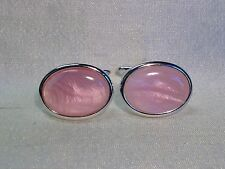 PINK Mother of Pearl Cufflinks, Oval, Silver finish.