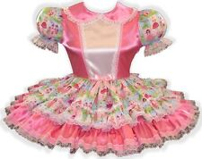 """Andrea"" CUSTOM Fit* Pink Satin Princess Adult Little Girl Sissy Dress by Leanne"