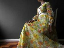Vintage 70s Yellow Orange Floral Maxi Dress Dress Sm Buy 3+ items for FREE Post