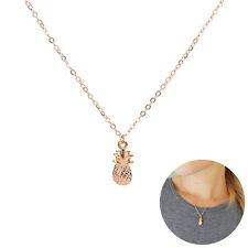 Summer Tiny Pineapple Cute Fruit Charm Gold Plate Long Chain Necklace  Q3 to
