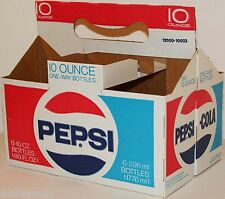 Vintage soda pop bottle carton PEPSI COLA One Way Bottles new old stock n-mint+