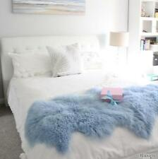 DUO DOUBLE TIBETAN MONGOLIAN SHEEPSKIN LAMBSKIN HIDE PELT FUR BED RUNNER BLUE