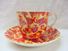 Large size breakfast cup and saucer in Georgian red tapestry  design