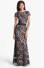 TADASHI SHOJI WOMEN TEXTURE LACE DRESS GOWN EVENING CAP SLEEVE NAVY 10 NORDSTROM