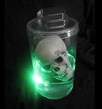 Lighted Mad Scientist Human Skull Body Part Jar Halloween Party Prop Tabletop 9""