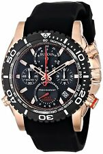 Bulova Men's 98B211 Chronograph Rose Gold Case Black Dial Watch W/ Rubber Band