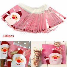 100x Christmas Xmas Cellophane Cute Flat Bottom Bags Gift Packaging Bag 13x10mm