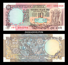 REPUBLIC INDIA 10 RUPEE 2 PEACOCK I G PATEL  SIGNATURE NOTE UNC
