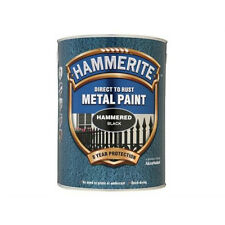 Hammerite Direct to Rust Hammered Finish Metal Black Paint 5 Litre