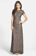 ADRIANNA PAPELL SHORT SLEEVE SEQUIN MESH LEAD GOWN DRESS sz 6