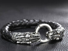Biker Genuine Leather Bracelet Wristband Stainless steel dragon Clasp Gothic Men