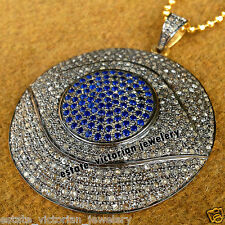 Estate Vintage 4.37cts Rose Cut Diamond Sapphire Silver Evil Eye Pendant Jewelry