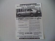 advertising Pubblicità 1988 FSO 1300/1500 - AUTOPILOTA (PIACENZA)