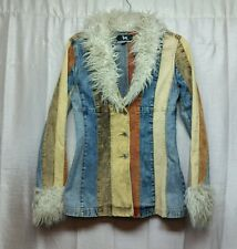 BN BLANC NOIR OUTERWEAR Pieced Corduroy Funky Sherpa Womens Jacket Size XS -456